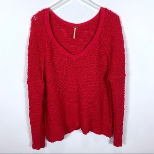 Free People V-neck Sweater open knit red medium